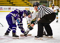 2 February 2020: University of Vermont Catamount Forward Olivia Kilberg, a Junior from Edina, MN, take a second period face-off against the Holy Cross Crusaders at Gutterson Fieldhouse in Burlington, Vermont. The Lady Cats rallied in the 3rd period to tie the Crusaders 2-2 in NCAA Women's Hockey East play. Mandatory Credit: Ed Wolfstein Photo *** RAW (NEF) Image File Available ***