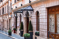 Facade of italian restaurant on a quaint street, Rome, Italy