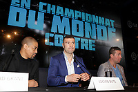 Boxer Lucian Bute, his trainer Howard Grant (L) and former boxer Eric Lucas (R) attend the Montreal news conference for the upcoming Badou Jack v Lucian Bute in Washington this month, Wenesday, April 6, 2016.<br /> <br /> Photo : Pierre Roussel<br /> - Agence Quebec Presse