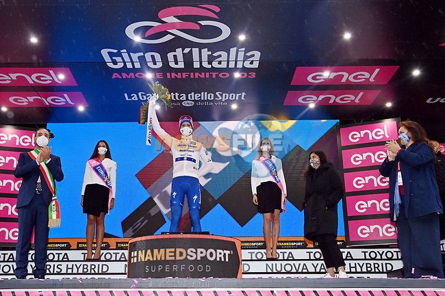 Race leader Joao Almeida (POR) Deceuninck-Quick Step also retains the young riders Maglia Bianca at the end of Stage 5 of the 103rd edition of the Giro d'Italia 2020 running 225km from Mileto to Camigliatello Silano, Sicily, Italy. 7th October 2020.  <br /> Picture: LaPresse/Gian Mattia D'Alberto | Cyclefile<br /> <br /> All photos usage must carry mandatory copyright credit (© Cyclefile | LaPresse/Gian Mattia D'Alberto)
