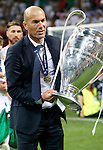 Real Madrid's coach Zinedine Zidane celebrates the victory in the UEFA Champions League 2015/2016 Final match.May 28,2016. (ALTERPHOTOS/Acero)