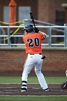 Zach Williams (20) of the Campbell Camels at bat against the Dayton Flyers at Jim Perry Stadium on February 28, 2021 in Buies Creek, North Carolina. The Camels defeated the Flyers 11-2. (Brian Westerholt/Four Seam Images)