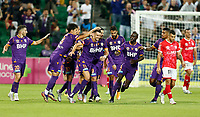18th April 2021; HBF Park, Perth, Western Australia, Australia; A League Football, Perth Glory versus Wellington Phoenix; Perth glory players congratulate Joel Chianese after he scored in the 58th minute to level the scores at 1-1