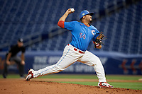 Clearwater Threshers relief pitcher Ismael Cabrera (54) during a Florida State League game against the Tampa Tarpons on April 18, 2019 at Spectrum Field in Clearwater, Florida.  Clearwater defeated Tampa 10-3.  (Mike Janes/Four Seam Images)