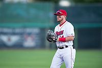 Orem Owlz first baseman Connor Fitzsimons (14) during a Pioneer League game against the Ogden Raptors at Home of the OWLZ on August 24, 2018 in Orem, Utah. The Ogden Raptors defeated the Orem Owlz by a score of 13-5. (Zachary Lucy/Four Seam Images)