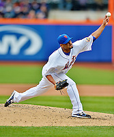 11 April 2012: New York Mets pitcher Johan Santana on the mound against the Washington Nationals at Citi Field in Flushing, New York. The Nationals shut out the Mets 4-0 to take the rubber match of their 3-game series. Mandatory Credit: Ed Wolfstein Photo