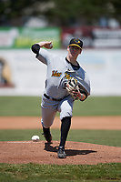West Virginia Black Bears relief pitcher Gavin Wallace (36) delivers a warmup pitch during a game against the Batavia Muckdogs on June 25, 2017 at Dwyer Stadium in Batavia, New York.  West Virginia defeated Batavia 6-4 in the completion of the game started on June 24th.  (Mike Janes/Four Seam Images)