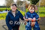 Little Alex Doyle enjoying the swings with Edel Wilson in the Tralee town park on Saturday.