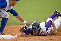 Dale Mollenhauer #5 of the Winston-Salem Dash dives back into first base just ahead of the tag by Anthony Seratelli #44 of the Wilmington Blue Rocks at Wake Forest Baseball Stadium June 14, 2009 in Winston-Salem, North Carolina. (Photo by Brian Westerholt / Four Seam Images)