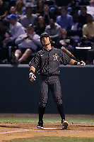 Zander Wiel (43) of the Vanderbilt Commodores bats during a game against the UCLA Bruins at Jackie Robinson Stadium on March 06, 2015 in Los Angeles, California. Vanderbilt defeated UCLA, 6-0. (Larry Goren/Four Seam Images)