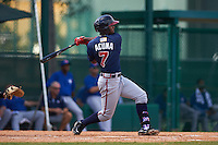 Atlanta Braves Ronald Acuna (7) during an instructional league game against the Toronto Blue Jays on September 30, 2015 at the ESPN Wide World of Sports Complex in Orlando, Florida.  (Mike Janes/Four Seam Images)