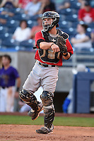 Frisco Rough Riders catcher Pat Cantwell (12) during the second game of a doubleheader against the Tulsa Drillers on May 29, 2014 at ONEOK Field in Tulsa, Oklahoma.  Frisco defeated Tulsa 3-2.  (Mike Janes/Four Seam Images)