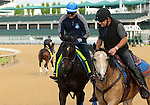 LOUISVILLE, KY - APRIL 28: Mor Spirit (Eskendereya x Im a Dixie Girl, by Dixie Union) ridden by Georgie Alvarez, is ponied by assistant trainer Jimmy Barnes on stable pony Smokey at Churchill Downs in preparation for the Kentucky Derby. Owner Michael Lund Peterson, trainer Bob Baffert. (Photo by Mary M. Meek/Eclipse Sportswire/Getty Images)
