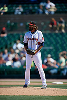 Rochester Red Wings relief pitcher Kam Mickolio (30) during a game against the Scranton/Wilkes-Barre RailRiders on June 7, 2017 at Frontier Field in Rochester, New York.  Scranton defeated Rochester 5-1.  (Mike Janes/Four Seam Images)