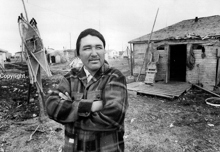 1972 FILE PHOTO - ARCHIVES -<br /> <br /> Indian hunters and trappers who live in the vast area to be affected by James Bay $6 billion development project fear damming of rivers will destroy their livelihood. Animals can't be replaced; they say.<br /> <br /> PHOTO :  Keith  BEATY  - Toronto Star Archives - AQP