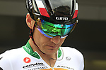 South African Champion Robert Hunter (RSA) Garmin-Sharp with a new Giro helmet at sign on before the start of Stage 2 of the 99th edition of the Tour de France 2012, running 207.5km from Vise to Tournai, Belgium. 2nd July 2012.<br /> (Photo by Eoin Clarke/NEWSFILE)