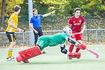 Mannheim, Germany, October 25: During the 1. Bundesliga men fieldhockey match between Mannheimer HC (red) and Harvestehuder THC (yellow) on October 25, 2020 at Am Neckarkanal in Mannheim, Germany. Final score 6-4 (HT 2-3). (Copyright Dirk Markgraf / www.265-images.com) *** Lukas Stumpf #4 of Mannheimer HC, Teo Hinrichs #14 of Mannheimer HC
