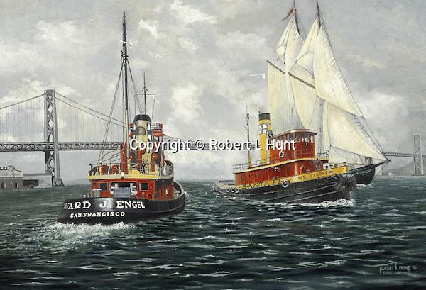 "Two Santa Fe Railroad tugboats passing in San Francisco Bay near the Bay Bridge in California. Oil on canvas, 18"" x 26""."