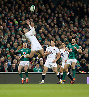 Saturday 2nd February 2019 | Ireland vs England<br /> <br /> Jonny May claims this high ball during the opening Guinness 6 Nations clash between Ireland and England at the Aviva Stadium, Lansdowne Road, Dublin, Ireland.  Photo by John Dickson / DICKSONDIGITAL