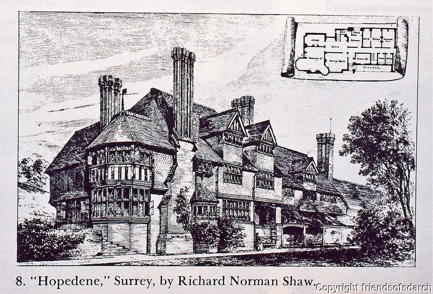 "Richard Norman Shaw: ""Hopedene"" Surrey. Pen and ink rendering, 1874.<br /> Scottish architect."