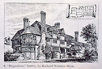 "Richard Norman Shaw: ""Hopedene"" Surrey. Pen and ink rendering, 1874.<br />