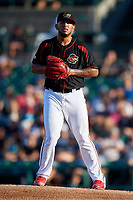 Rochester Red Wings starting pitcher Fernando Romero (43) gets ready to deliver a pitch during a game against the Lehigh Valley IronPigs on September 1, 2018 at Frontier Field in Rochester, New York.  Lehigh Valley defeated Rochester 2-1.  (Mike Janes/Four Seam Images)