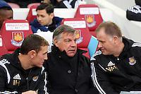 Sunday 07 December 2014<br /> Pictured: West Ham manager Sam Allardyce (C)<br /> Re: Premier League West Ham United v Swansea City FC at Boleyn Ground, London, UK.
