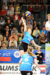 Rüsselsheim, Germany, April 13: Ksenija Ivanovic #12 of the VC Wiesbaden spikes the ball during play off Game 1 in the best of three series in the semifinal of the DVL (Deutsche Volleyball-Bundesliga Damen) season 2013/2014 between the VC Wiesbaden and the Rote Raben Vilsbiburg on April 13, 2014 at Grosssporthalle in Rüsselsheim, Germany. Final score 0:3 (Photo by Dirk Markgraf / www.265-images.com) *** Local caption ***
