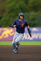 Connecticut Tigers Kona Quiggle (23) running the bases during a NY-Penn League game against the Auburn Doubledays on July 12, 2019 at Falcon Park in Auburn, New York.  Auburn defeated Connecticut 7-5.  (Mike Janes/Four Seam Images)