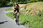 Sepp Kuss (USA) Team Jumbo-Visma attacks on the final climb to Altiport during Stage 5 of Criterium du Dauphine 2020, running 153.5km from Megeve to Megeve, France. 16th August 2020.<br /> Picture: ASO/Alex Broadway | Cyclefile<br /> All photos usage must carry mandatory copyright credit (© Cyclefile | ASO/Alex Broadway)