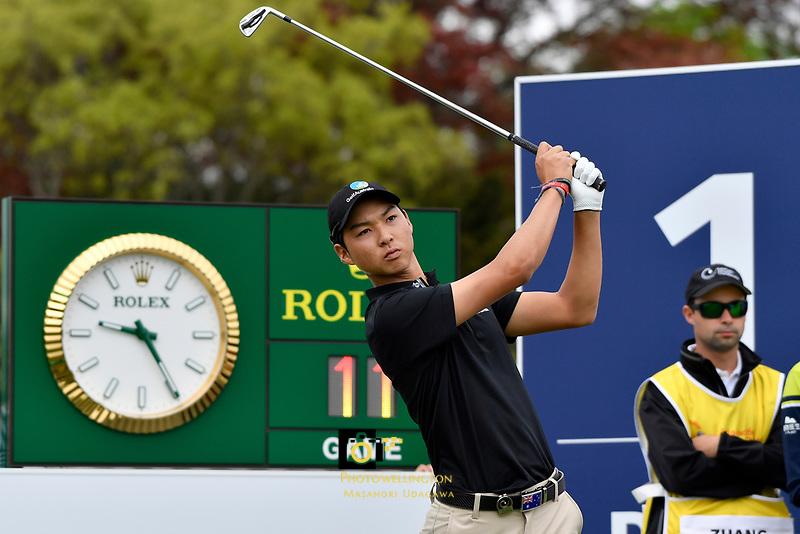 Min Woo Lee (Australia) in action during the Asia- Pacific Amateur Championship at Royal Wellington Golf Club, Wellington, New Zealand on Sunday 29 October.<br /> Photo by Masanori Udagawa. <br /> www.photowellington.photoshelter.com