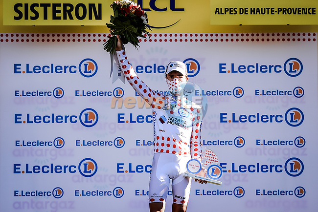 Benoit Cosnefroy (FRA) AG2R La Mondial retains the mountains Polka Dot Jersey at the end of Stage 3 of Tour de France 2020, running 198km from Nice to Sisteron, France. 31st August 2020.<br /> Picture: ASO/Pauline Ballet | Cyclefile<br /> All photos usage must carry mandatory copyright credit (© Cyclefile | ASO/Pauline Ballet)