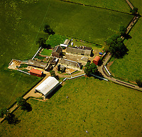 Dairy mixed farmstead in the central belt of Scotland. Aerial.