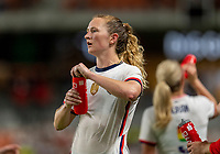 HOUSTON, TX - JUNE 10: Samantha Mewis #3 of the USWNT takes a water break during a game between Portugal and USWNT at BBVA Stadium on June 10, 2021 in Houston, Texas.