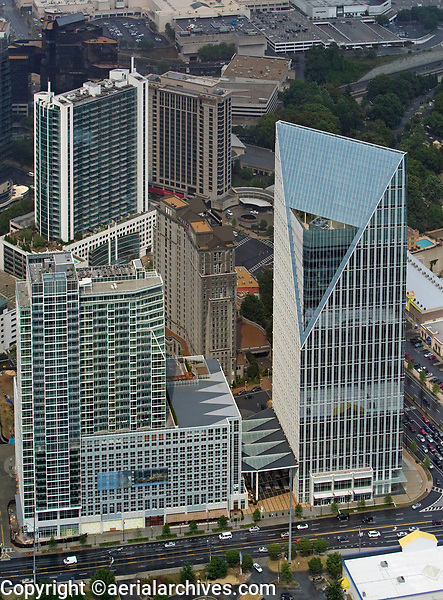 aerial photograph of the Terminus 100 office tower, 10 Terminus Place, Grand Hyatt Atlanta in Buckhead, Atlanta,  Georgia