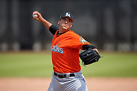 Miami Marlins pitcher Colton Hock (92) during a Minor League Spring Training game against the Washington Nationals on March 28, 2018 at FITTEAM Ballpark of the Palm Beaches in West Palm Beach, Florida.  (Mike Janes/Four Seam Images)