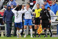 Jordan Angeli coming on for Chioma Igwe...Saint Louis Athletica  tied 1-1 with Boston Breakers at Anheuser-Busch Soccer Park, Fenton, MO.