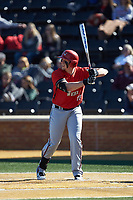 Chandler Redmond (35) of the Gardner-Webb Runnin' Bulldogs at bat against the Wake Forest Demon Deacons at David F. Couch Ballpark on February 18, 2018 in  Winston-Salem, North Carolina. The Demon Deacons defeated the Runnin' Bulldogs 8-4 in game one of a double-header.  (Brian Westerholt/Four Seam Images)