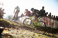 Sven Nys (BEL/Crelan-AAdrinks) turning onto the field<br /> <br /> elite men's race<br /> Koppenbergcross 2015