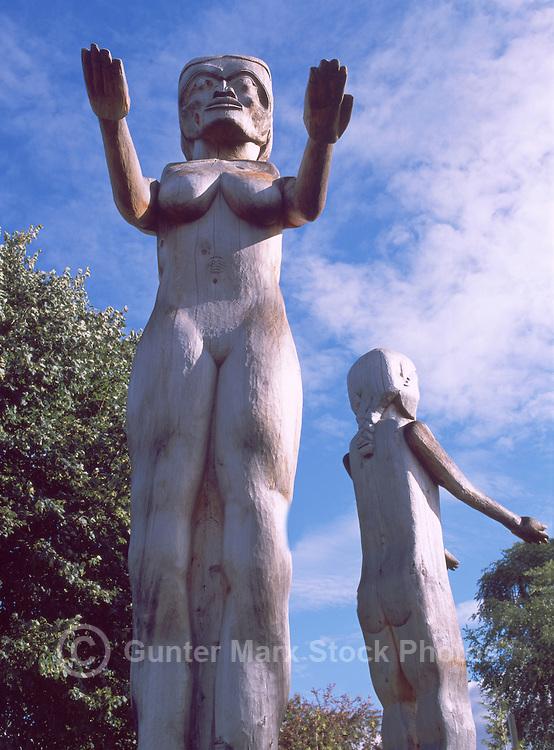 Port Alberni, Vancouver Island, BC, British Columbia, Canada - Nuu-Chah-Nulth Welcome Figure Totem Poles