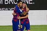 8th July 2020; Camp Nou, Barcelona, Catalonia, Spain; La Liga Football, Barcelona versus Espanyol; Picture show Luis Suarez after score and Sergi Roberto