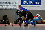 Mannheim, Germany, January 10: During the 1. Bundesliga Herren Hallensaison 2014/15 Sued  hockey match between Mannheimer HC (blue) and Muenchner SC (white) on January 10, 2015 at Irma-Roechling-Halle in Mannheim, Germany. Final score 8-8 (3-5). (Photo by Dirk Markgraf / www.265-images.com) *** Local caption *** Frederik Guertler #tw of Muenchner SC