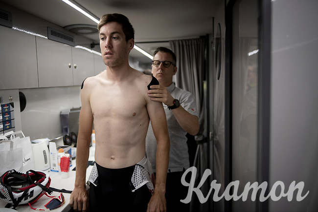 Jelle Wallays (BEL/Lotto-Soudal) on the teambus at the stage start, prepping for Stage 14: San Vicente de la Barquer to Oviedo (188km)<br /> <br /> La Vuelta 2019<br /> <br /> ©kramon