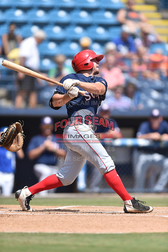 Hagerstown Suns left fielder Jack Sundberg (10) swings at a pitch during a game against the Asheville Tourists at McCormick Field on September 5, 2016 in Asheville, North Carolina. The Suns defeated the Tourists 9-5. (Tony Farlow/Four Seam Images)
