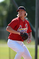 St. Louis Cardinals pitcher Lee Stoppelman during practice before a minor league spring training game against the New York Mets on April 1, 2015 at the Roger Dean Complex in Jupiter, Florida.  (Mike Janes/Four Seam Images)