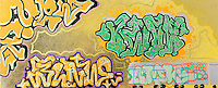"""""""Face 1""""  Graffiti art picture by Tom Randall Williams with Graffiti  type on a yellow  background"""