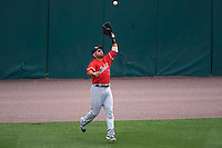Louisville Bats center fielder Hernan Iribarren (2) catches a fly ball during a game against the Buffalo Bisons on June 23, 2016 at Coca-Cola Field in Buffalo, New York.  Buffalo defeated Louisville 9-6.  (Mike Janes/Four Seam Images)