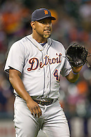 Detroit Tigers pitcher Jose Valverde (46) during the MLB baseball game against the Houston Astros on May 3, 2013 at Minute Maid Park in Houston, Texas. Detroit defeated Houston 4-3. (Andrew Woolley/Four Seam Images).