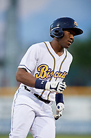 Montgomery Biscuits designated hitter Justin Williams (4) runs to first base during a game against the Mississippi Braves on April 24, 2017 at Montgomery Riverwalk Stadium in Montgomery, Alabama.  Montgomery defeated Mississippi 3-2.  (Mike Janes/Four Seam Images)