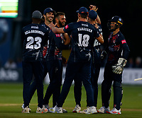 Jack Leaning of Kent is all smiles after taking the wicket of John Simpson during Kent Spitfires vs Middlesex, Vitality Blast T20 Cricket at The Spitfire Ground on 11th June 2021
